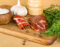 Bacon and spices Stock Photography