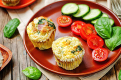 Bacon Spinach egg muffin Stock Photo