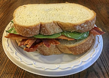 Bacon and Spinach Sandwich. A bacon and spinach sandwich with white bread on a plate royalty free stock image