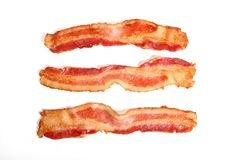 Bacon strips isolated on white background Stock Photos