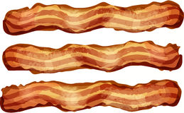 Bacon Strips. Three bacon strips arranged horizontally Royalty Free Stock Photo