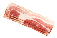 Bacon strips, top view, paths stock image