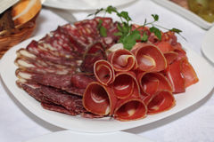 Bacon sul piatto Fotografia Stock Libera da Diritti
