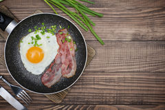 Bacon with sunny side up egg Stock Image