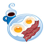 Bacon, tea and fried eggs Stock Photos