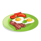 Bacon, tomato and fried eggs on the plate. Royalty Free Stock Images