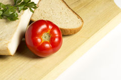Bacon with tomatoes and bread Royalty Free Stock Photo