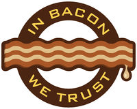 "In Bacon We Trust. Bacon emblem featuring the words, ""In Bacon We Trust"". Includes clean and grunge versions Royalty Free Stock Photography"