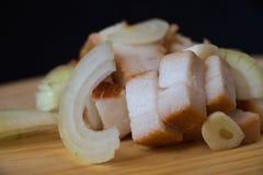 Bacon, ui en knoflookdetail Royalty-vrije Stock Fotografie