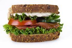 Bacon and vegetable sandwich Royalty Free Stock Photography