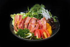 Bacon and vegetables salad Royalty Free Stock Photos
