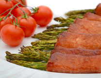 Bacon-verpakte Asperge Royalty-vrije Stock Foto