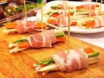 Bacon Verpakte Paddestoelen Stock Afbeelding