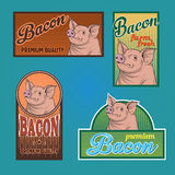 Bacon vintage labels. For using in different spheres Royalty Free Stock Images