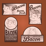 Bacon vintage labels. For using in different spheres Stock Images