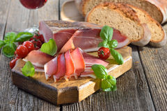 Bacon and wine Stock Photography