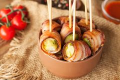 Bacon wrapped brussels sprouts royalty free stock photos