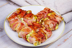 Bacon wrapped cheese Stock Photo