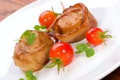 Bacon-Wrapped Ginger Soy Scallops Royalty Free Stock Photos