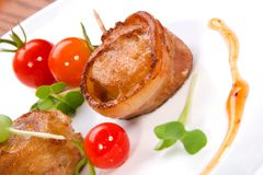 Bacon-Wrapped Ginger Soy Scallops Stock Photos
