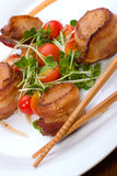 Bacon-Wrapped Ginger Soy Scallops Stock Photography