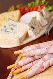 Bacon wrapped grissini breadsticks Royalty Free Stock Photo