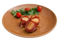 Bacon wrapped scallops Royalty Free Stock Images