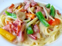 Pasta with bacon and cream sauce Stock Image