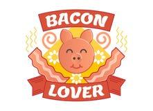 Baconminnaar geïllustreerd vectorkenteken Stock Fotografie