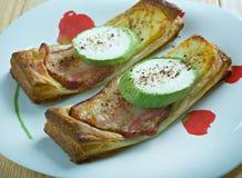 Baconost och zucchini för bakelse syrlig Fotografering för Bildbyråer