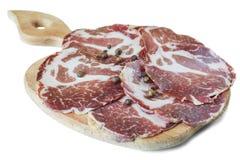 Baconplakken op een raad royalty-vrije stock fotografie