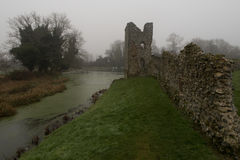 Baconsthorpe Castle, Norfolk, England. An ancient monument in East Anglia, England. A medieval castle on a misty winter`s day stock photography
