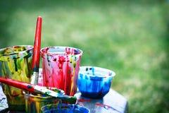 Bacs de peinture Photographie stock libre de droits