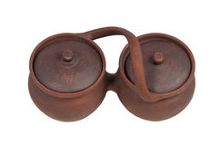 Bacs de poterie de terre d'isolement sur le fond blanc Image libre de droits