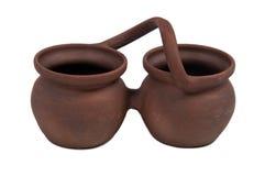 Bacs de poterie de terre de Brown d'isolement sur le backgroun blanc Images libres de droits