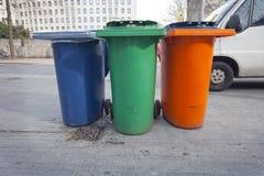 3 bacs de recyclage Photographie stock