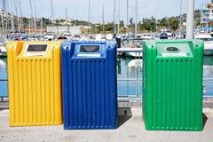 Bacs de recyclage, Albufeira Photo libre de droits