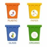 Bacs de recyclage de séparation Concept de rebut de gestion de ségrégation Photo libre de droits