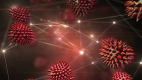 Bactéries dans l'automne libre entourées des connexions de données illustration de vecteur