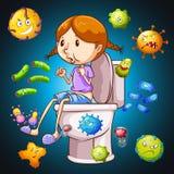 Bacteriën overal het toilet stock illustratie