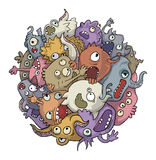 Bacteria. The accumulation of bacteria, microbes, different characters cramped together in a big ball Stock Images