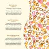 Bacteria background with text. Vector background with bacterial, cells, virus and germs. Hand drawn medical background with text. Perfect for an article in a Royalty Free Illustration