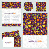 Bacteria business cards set. Vector set of corporate identity template with bacterial, cells, virus and germs. Hand drawn bacteria background and text Stock Illustration