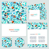 Bacteria business cards set. Vector set of corporate identity template with marine microorganisms background and text. Hand drawn sea collection Royalty Free Illustration
