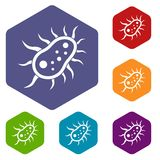 Bacteria centipede icons set Royalty Free Stock Photo
