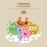 Bacteria Flat Cartoon Vector Web Banner Royalty Free Stock Image