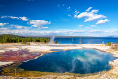 Bacteria Mat and Abyss Pool. At the West Thumb Geyser Basin in Yellowstone National Park Royalty Free Stock Photos