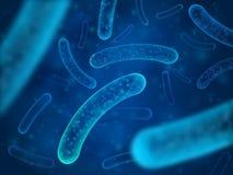 Bacteria micro y organismos terapéuticos de las bacterias Salmonelas microscópicas, lactobacilo o vector acidófilo del organismo ilustración del vector