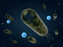 Bacteria moving. 3d render illustration Royalty Free Stock Photo
