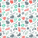 Bacteria seamless pattern. Vector seamless pattern with bacterial, cells, virus and germs. Hand drawn medical background. Vector illustration Stock Photos